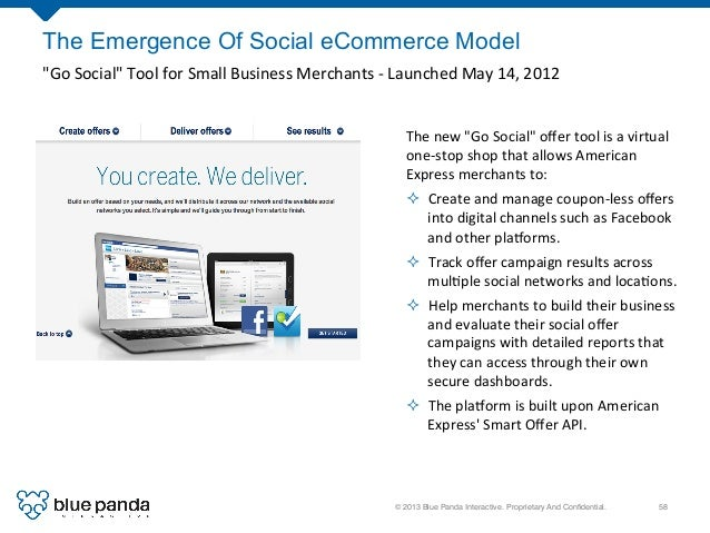 """© 2013 Blue Panda Interactive. Proprietary And Confidential.! 58! The Emergence Of Social eCommerce Model """"Go  Social""""  ..."""