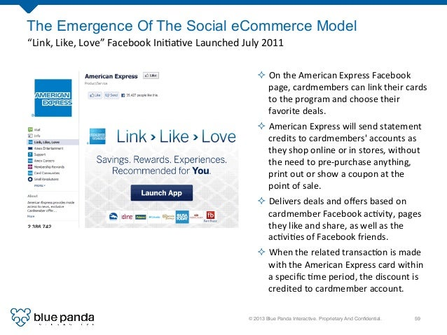 """© 2013 Blue Panda Interactive. Proprietary And Confidential.! 59! The Emergence Of The Social eCommerce Model """"Link,  Lik..."""