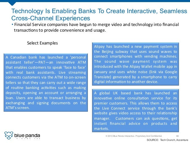© 2013 Blue Panda Interactive. Proprietary And Confidential.! 66! Technology Is Enabling Banks To Create Interactive, Seaml...