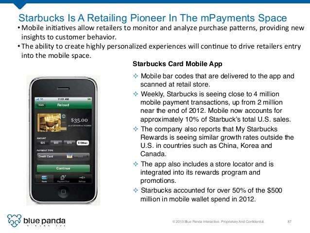 © 2013 Blue Panda Interactive. Proprietary And Confidential.! 87! Starbucks Is A Retailing Pioneer In The mPayments Space S...