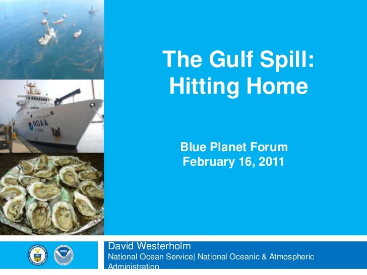 The Gulf Spill:Hitting Home<br />Blue Planet Forum<br />February 16, 2011<br />David WesterholmNational Ocean Service| Nat...