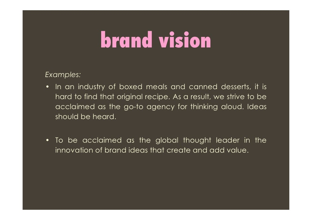 Your brand vision is going to set the tone and direction for the brand. It's where you ultimately want the brand to stand for. As a result, the vision is a collection of six key components.