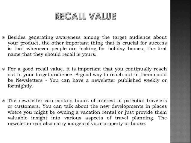 vacation home business plan