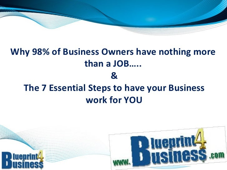 Why 98% of Business Owners have nothing more  than a JOB…..  &  The 7 Essential Steps to have your Business  work for YOU