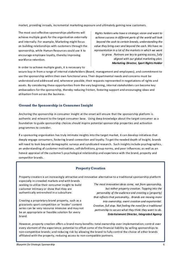Blueprint for strategic sponsorship (whitepaper report PDF download)