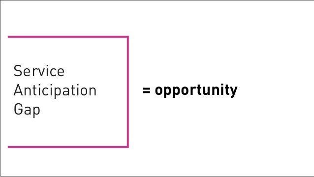 Service             Anticipation   = opportunity             GapTuesday, February 26, 13