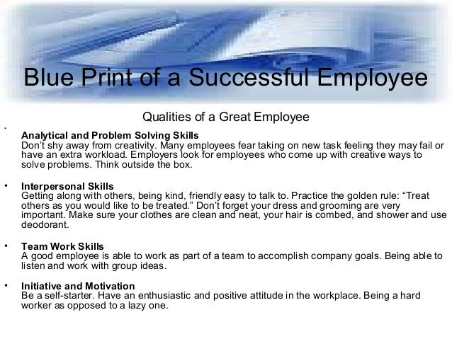 Blue print of a Successful Employee