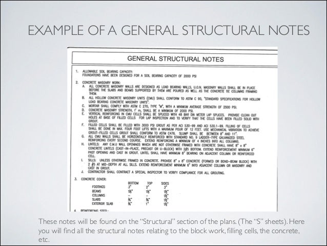 29 EXAMPLE OF A GENERAL STRUCTURAL NOTES