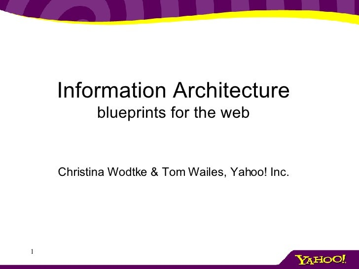 Information Architecture blueprints for the web Christina Wodtke & Tom Wailes, Yahoo! Inc.