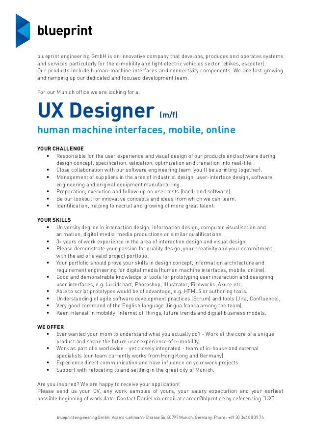 Superb Job Description Blueprint UX Designer Munich. Blueprint Engineering GmbH,  Adams Lehmann Strasse 56, 80797 Munich, Germany,