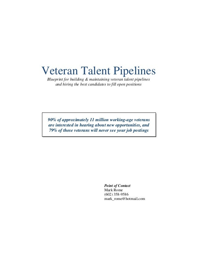Veteran Talent Pipelines Blueprint for building & maintaining veteran talent pipelines and hiring the best candidates to f...