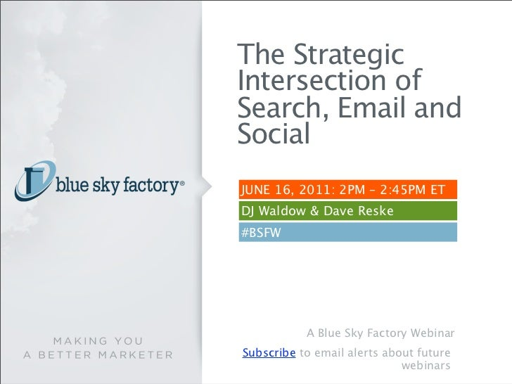 The StrategicIntersection ofSearch, Email andSocialJUNE 16, 2011: 2PM – 2:45PM ETDJ Waldow & Dave Reske#BSFW           A B...