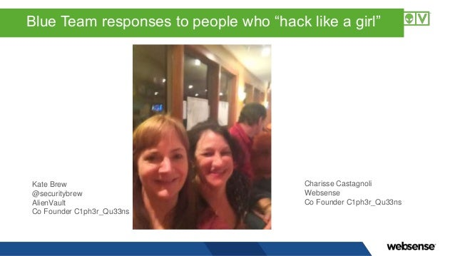"""Blue Team responses to people who """"hack like a girl"""" Kate Brew @securitybrew AlienVault Co Founder C1ph3r_Qu33ns Charisse ..."""