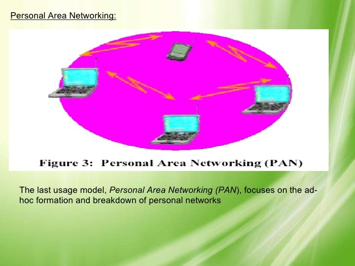 Personal Area Networking: The last usage model,  Personal Area Networking (PAN ), focuses on the ad-hoc formation and brea...