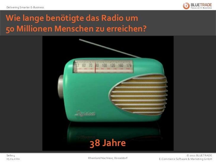 Wie lange benötigte das Radio um50 Millionen Menschen zu erreichen?<br />38 Jahre<br />25.02.2011<br />Rheinland Nachlese,...