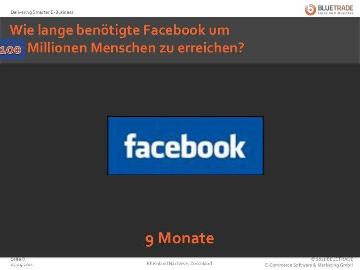 Wie lange benötigte Facebook um50 Millionen Menschen zu erreichen?<br />100<br />9 Monate<br />25.02.2011<br />Rheinland N...