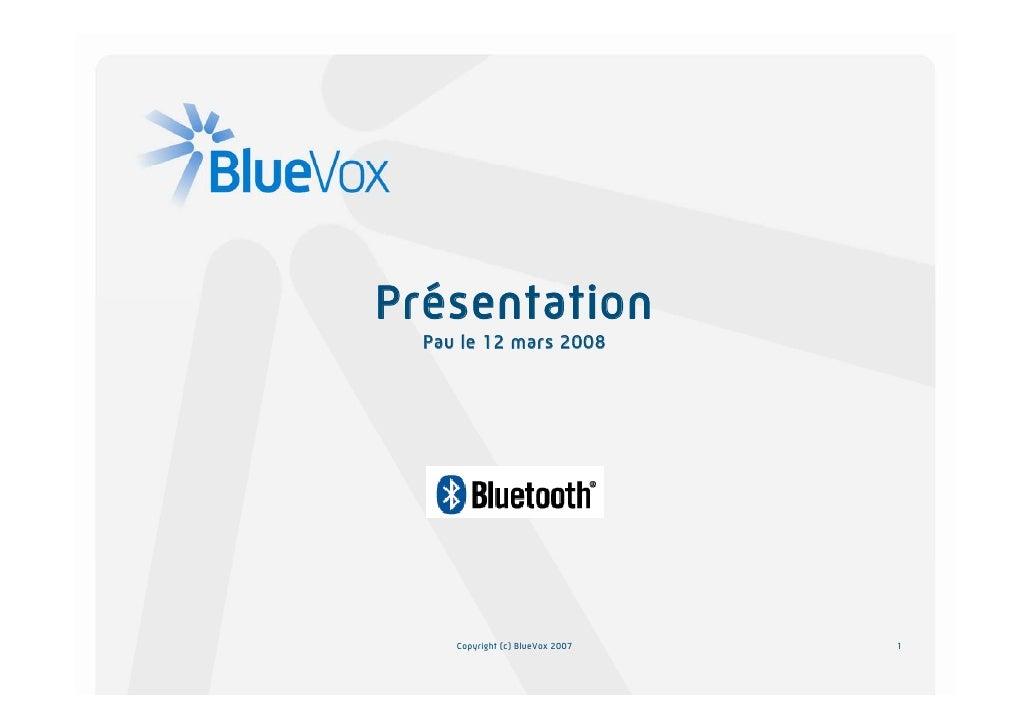 Présentation   Pau le 12 mars 2008          Copyright (c) BlueVox 2007   1