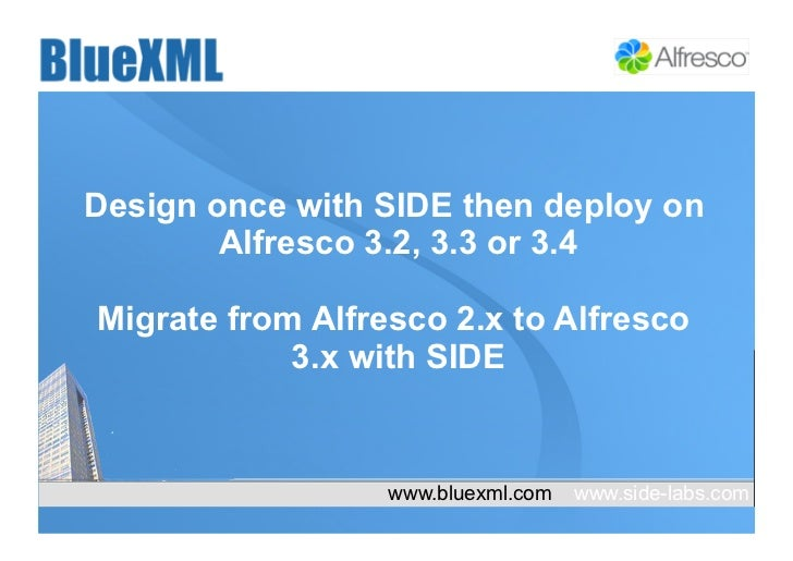 Design once with SIDE then deploy on        Alfresco 3.2, 3.3 or 3.4Migrate from Alfresco 2.x to Alfresco            3.x w...