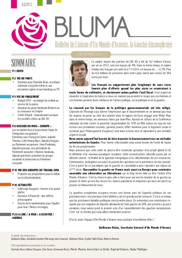 EDITO                                               Bulletin de Liaison dUn Monde dAvance, la Gauche décomplexée          ...
