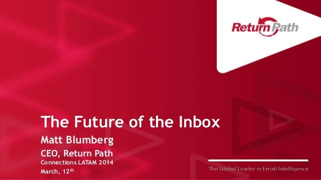 The Future of the Inbox Matt Blumberg CEO, Return Path Connections LATAM 2014 March, 12th