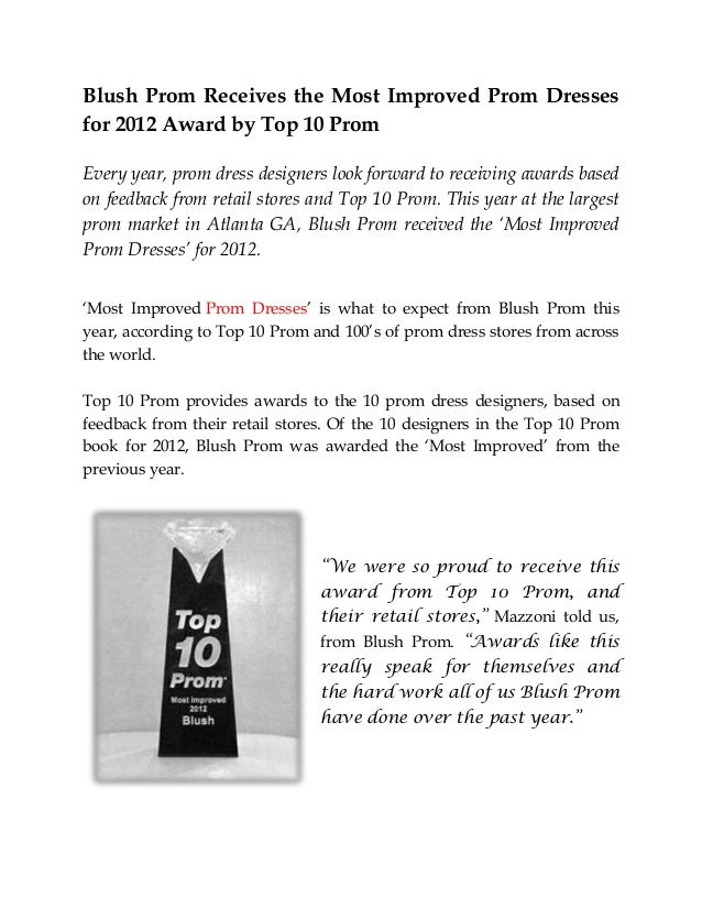 blush prom receives the most improved prom dresses for 2012 award by