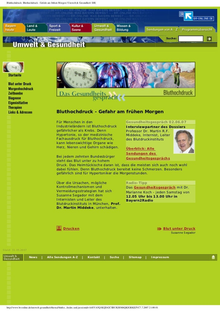 Bluthochdruck: Bluthochdruck - Gefahr am frühen Morgen | Umwelt  Gesundheit | BR                                          ...