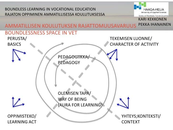 BOUNDLESS LEARNING IN VOCATIONAL EDUCATION      <br />RAJATON OPPIMINEN AMMATILLISESSA KOULUTUKSESSA<br />AMMATILLISEN KOU...