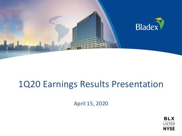 1Q20 Earnings Results Presentation April 15, 2020