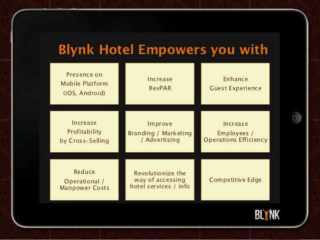Blynk Hotel Empowers you with   Presence on                         Increase               EnhanceMobile Platform         ...