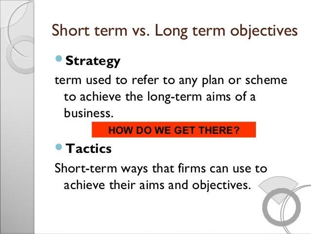 Short Term Objectives : Organizational objectives