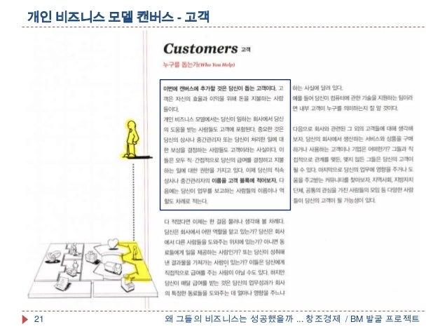 개인 비즈니스 모델 캔버스 - 고객왜 그들의 비즈니스는 성공했을까 ... 창조경제 / BM 발굴 프로젝트21