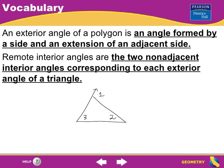 Parallel lines the triangle angle sum theorem - Total exterior angles of a polygon ...