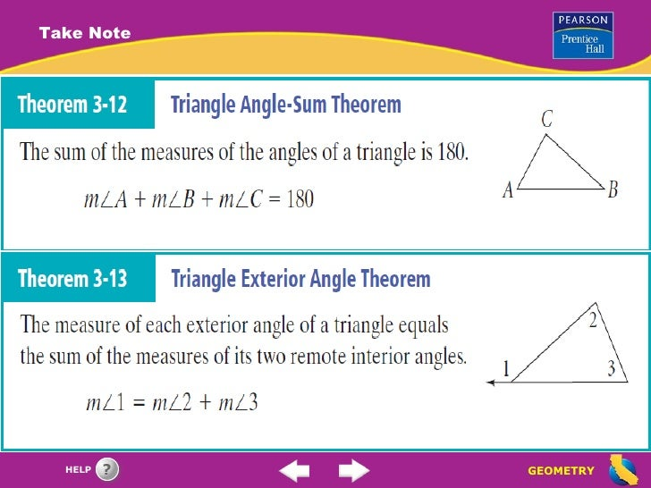 Parallel lines the triangle angle sum theorem - Sum of the exterior angles of a triangle ...