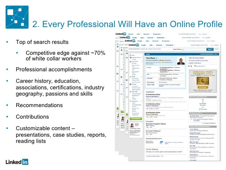 2. Every Professional Will Have an Online Profile <ul><ul><li>Top of search results </li></ul></ul><ul><ul><ul><li>Competi...