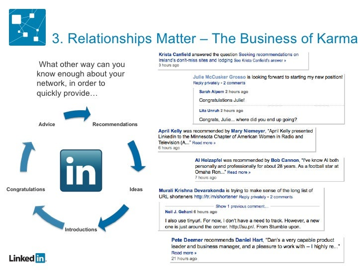 3. Relationships Matter – The Business of Karma What other way can you know enough about your network, in order to quickly...