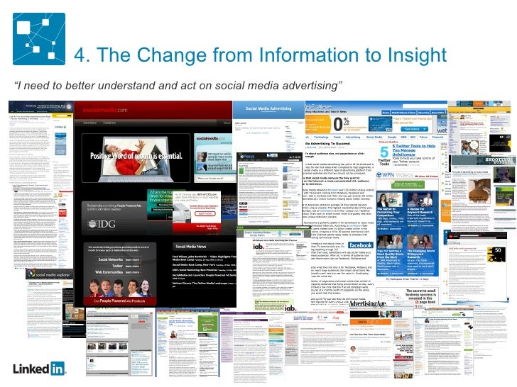 """4. The Change from Information to Insight """" I need to better understand and act on social media advertising"""""""