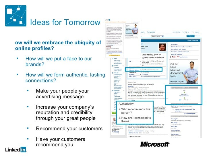 Ideas for Tomorrow <ul><ul><li>How will we embrace the ubiquity of online profiles? </li></ul></ul><ul><ul><ul><li>How wil...
