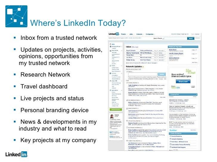 Where's LinkedIn Today? <ul><li>Inbox from a trusted network </li></ul><ul><li>Updates on projects, activities, opinions, ...