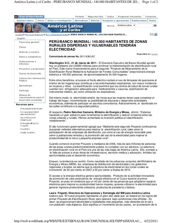 América Latina y el Caribe - PERÚ/BANCO MUNDIAL: 140.000 HABITANTES DE ZO... Page 1 of 2                                  ...