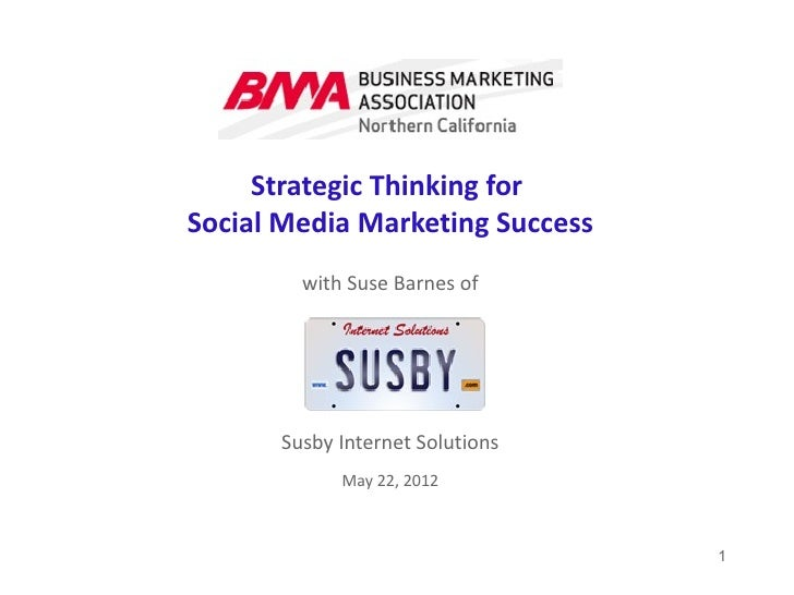 Strategic Thinking forSocial Media Marketing Success        with Suse Barnes of      Susby Internet Solutions            M...