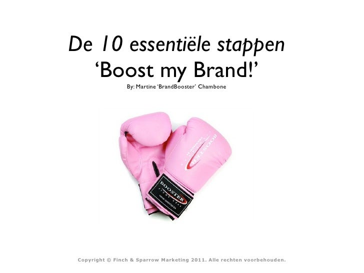 De 10 essentiële stappen  'Boost my Brand!'                 By: Martine 'BrandBooster' Chambone Copyright © Finch & Sparro...