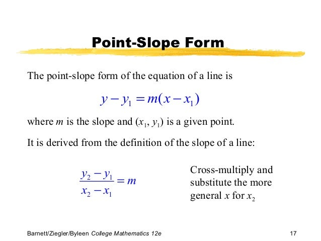 point slope form geometry definition  Bmb100e ppt 10_10