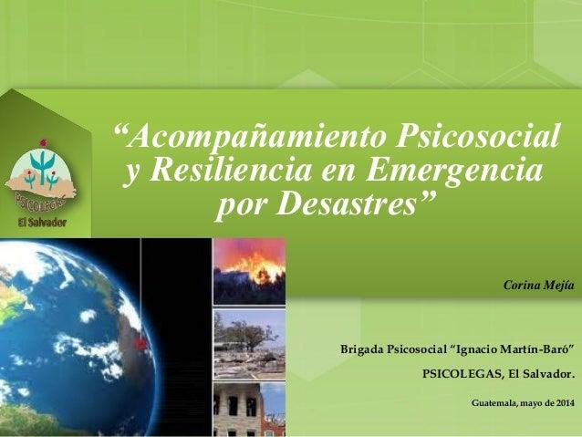 """""""Acompañamiento Psicosocial y Resiliencia en Emergencia por Desastres"""" Corina Mejía Brigada Psicosocial """"Ignacio Martín-Ba..."""