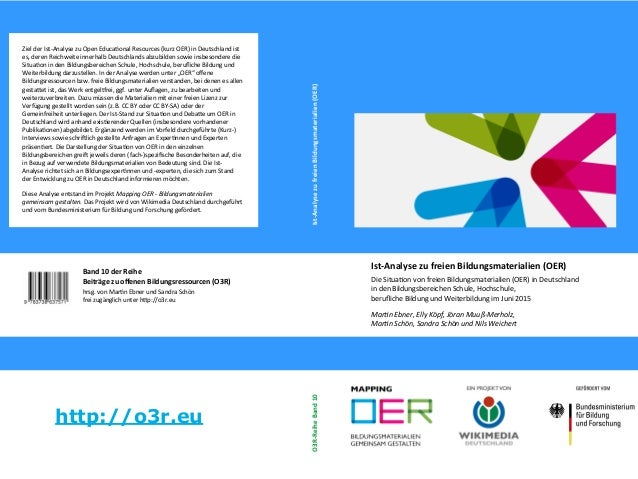 Band 10 der Reihe Beiträge zu ofenen Bildungsressourcen (O3R) hrsg. von Martn Ebner und Sandra Schön frei zugänglich unter...