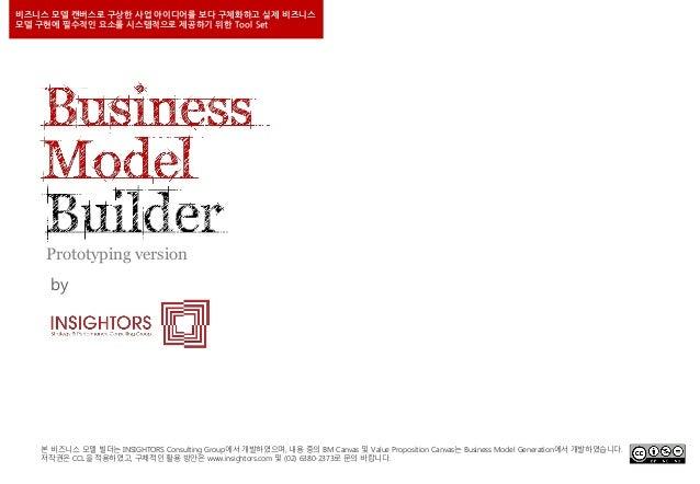 비즈니스 모델 캔버스로 구상한 사업 아이디어를 보다 구체화하고 실제 비즈니스 모델 구현에 필수적인 요소를 시스템적으로 제공하기 위한 Tool Set  Prototyping version by  본 비즈니스 모델 빌더는 ...