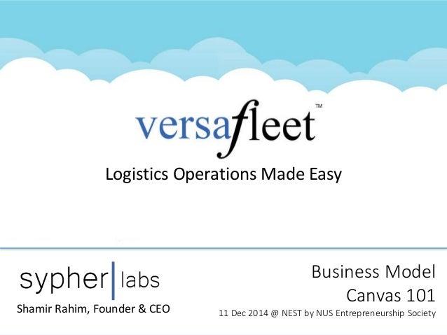 TM Logistics Operations Made Easy Business Model Canvas 101 11 Dec 2014 @ NEST by NUS Entrepreneurship SocietyShamir Rahim...