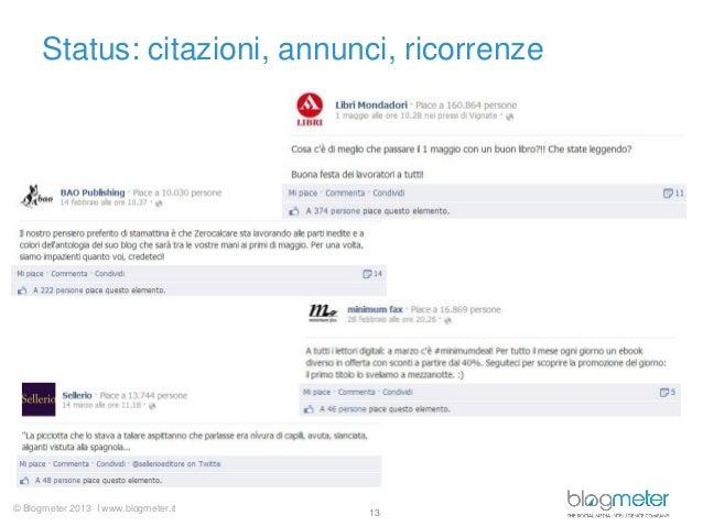 © Blogmeter 2013 I www.blogmeter.itStatus: citazioni, annunci, ricorrenze13