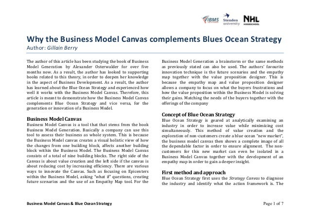 Why  the  Business  Model  Canvas  complements  Blues  Ocean  Strategy  Author:  Business  Model  Canvas  &  Blue  Ocean  ...
