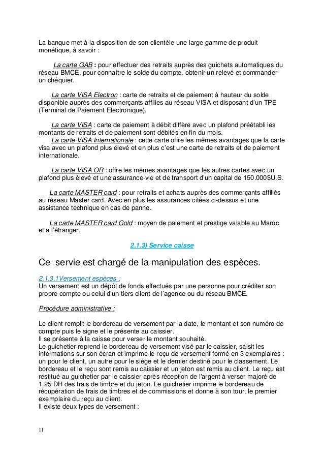 Rapport de stage bmce3 - Plafond de paiement carte visa premier ...
