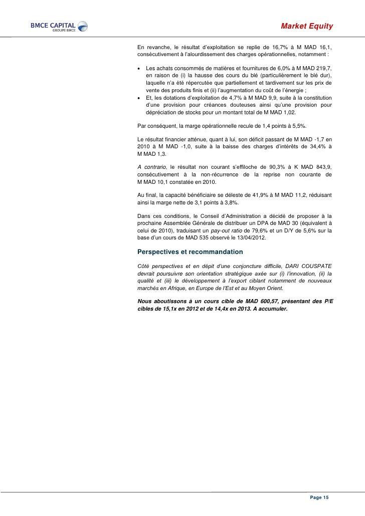 Market EquityEn revanche, le résultat d'exploitation se replie de 16,7% à M MAD 16,1,consécutivement à l'alourdissement de...